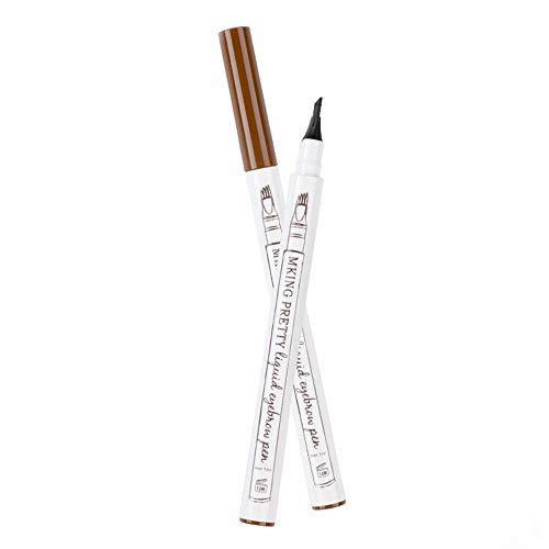 Hanneng Wasserfest Augenbrauenstift -Waterproof Microblading Pen mit Tips Wasserfester Langenhaltend für Natürlich Augenbrauen Schminke (Brown)