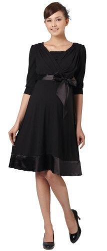 YL008 Élégante robe de grossesse et d'allaitement à manches 3/4 Black