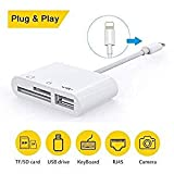 SD Card Reader, 3 in 1 USB Camera Connection Kit Memory Card SD/TF Card Reader, Trail...