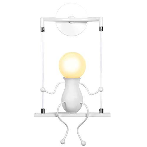 KAWELL Humanoid Creativo Applique da Parete Moderna Lampada da Parete Lampada a Muro Applique Candelabro Art Deco Max 60W E27 per Stanza dei Bambini, Camera da Letto, Scale, Swing Bianco x1