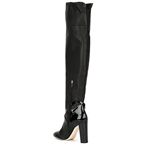 Onlymaker Damenschuhe Stiefeletten Langeschaft Stiefel Boots High Heels Reissverschluss Schwarz Schwarz