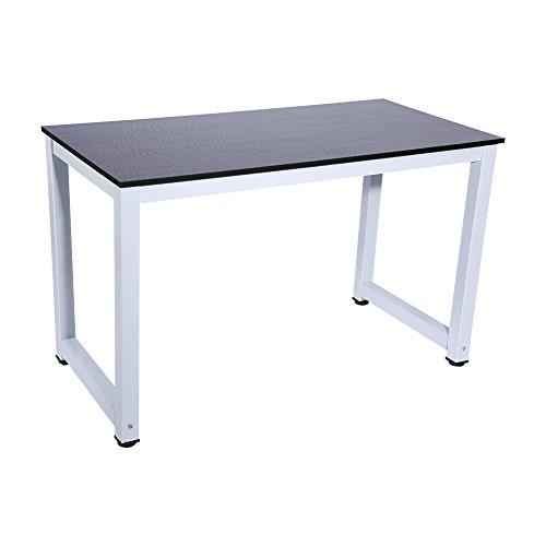 Gototop, scrivania da studio per computer, pc portatile, con una moderna struttura in acciaio e legno, per casa o ufficio, colore nero