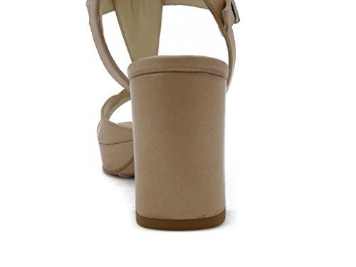 OSVALDO PERICOLI, Leder-Sandalen mit Absatz 7 cm. und Plateau 1,5 cm, rutschfestem Gummisohle , Sommer-1204 Beige
