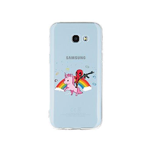 licaso Samsung Galaxy A5 (2017) Handyhülle TPU mit Superhero Riding Unicorn Print Motiv - Transparent Cover Schutz Hülle Superheld Einhorn Pink Aufdruck Druck