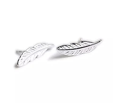 Iszie Bijoux Argent sterling Pretty Little plumes Boucles d'oreille à tige, Little Feuille Boucles d'oreilles