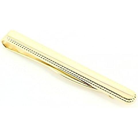 Fermacravatta, placcati in oro, con bordo giallo, Cravate Avenue Signature