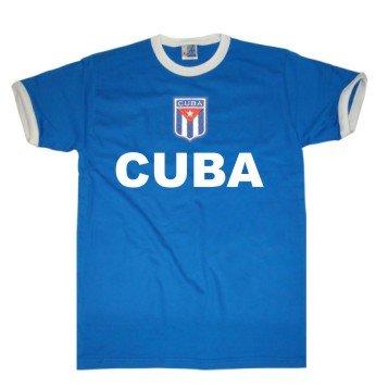 Cuba T-Shirt im Trikot Look + Wappen Gr.S-XXL blau/weiss M