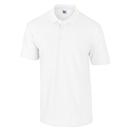 "Gildan DryBlend""¢ pique knit polo White S (V-neck Double-knit)"