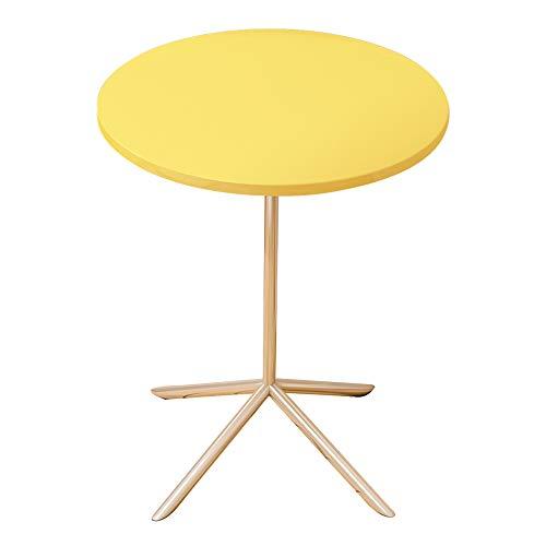 Beistelltisch CAICOLOUR Sofa Nachttisch Nordic Kleiner Runder Tisch Massivholz Tischplatte Gelb/Weiß 40 * 40 * 50 cm (Farbe : Gelb)