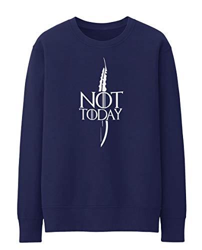 Not Today Arya Sweatshirt GOT Game TV Show Thrones Merchandise Shirt (Navy, S)