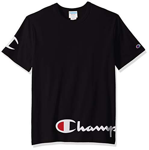 Black Tee Cap (Champion Life Herren Heritage Tee T-Shirt, Black W/Wrap Around Script, XS)