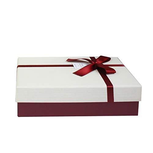 Emartbuy Starre Luxus Präsentierte Geschenkbox in Rechteckform, 33,5 cm × 25 cm × 11,5 cm, Strukturierte Burgunderkiste mit Creme Deckel, Schokoladenbrauner Innenraum und Satin Zierband