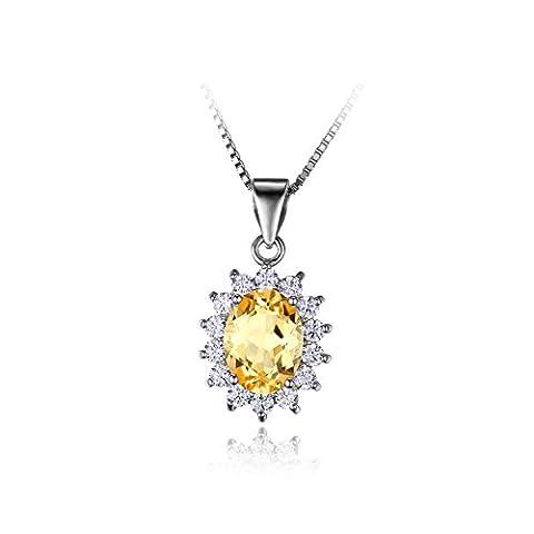 JewelryPalace Elégant Diana Princesse Kate Middleton Collier Pendentif Femme en Citrine Naturelle une Chaîne en Argent Sterling 925