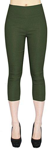 High Waist Damen Capri Hose 7/8 Skinny Pants/Slim Fit - Figurformend - CLG077 (38/M, CLG077-Tiefgrün) -