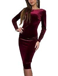 391d3cef07 Amazon.es  Vestido Negro Terciopelo - Ajustado   Vestidos   Mujer  Ropa
