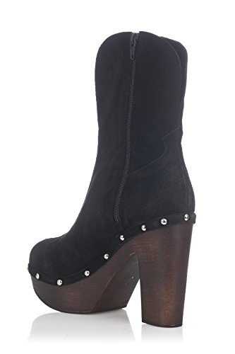 Laura Moretti Swedish Nailed Boot, Stivaletti Donna Nero Nabuk