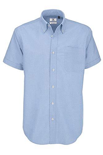 B&c - camicia classica manica corta - uomo (l) (blu oxford)