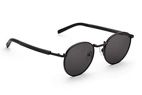 TAKE A SHOT - Runde Holz-Sonnenbrille unisex, mit filigranem Metall-Rahmen und Metall-Holz-Bügel, UV400 Schutz, rückentspiegelte Gläser