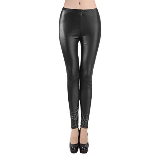 Leggings de Cuero Alta Cintura para Mujer Talla Grandes...