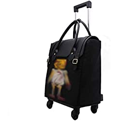 XUDONG Grande capacité Trolley Bag Dames Bagage étudiant imperméable Oxford Sac à Dos Voyage Portable Sac à Dos Double Anti-vol Boucle magnétique Couverture embarquement châssis léger Mate la roulet.