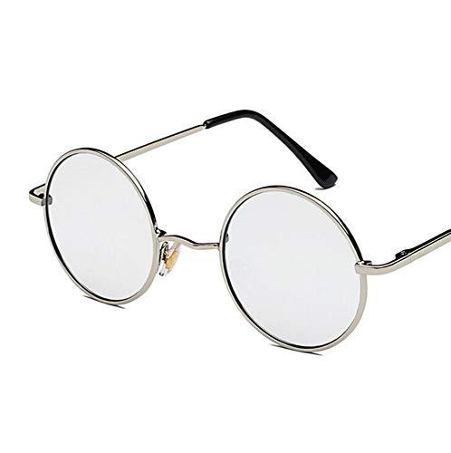 Sonnenbrille,Retro Runde Gläser Männer Frauen Metall Runde Sonnenbrille Vintage Kleine Hippie Brille Kreis Objektive Weiß Beschichtet