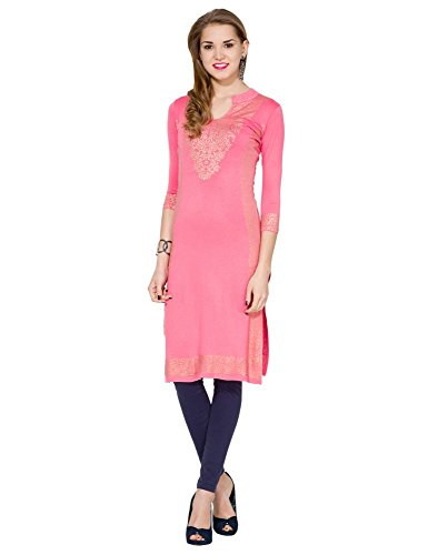 Folklore Women's Straight Kurta (FOKU001571_Coral_Large)  available at amazon for Rs.949