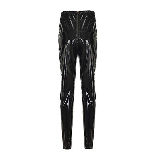 Mujeres PU Leggins Cuero Brillante Pantalón Elásticos Pantalones para Mujer Gusspower