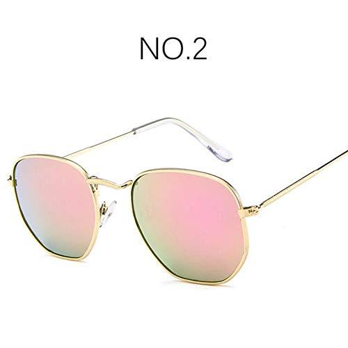 Loving Bird Liebevoller Vogel 2019 Schwarz Hexagon Sonnenbrille Frauen Spiegel Retro Sonnenbrille Luxusmarke Sonnenbrille für Männer Metallrahmen Paar Brillen 3548, Farbe 2