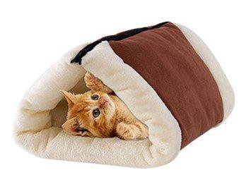 nnel und Matte, Warme Faltbare Weiche Mat Bett Nest Cave Bietet Komfortable Schlafen für Hund Katze Kaninchen Kleine Haustiere, 90*57cm (Brauner) (Halloween Stock 1)