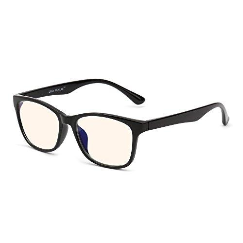 (JIM HALO Blaues Licht blockiert Computer Lesebrille,Augenbelastung reduzieren Anti-Glanz klar Linse Video Brillen Damen Herren(Glänzend Schwarz/Klar))