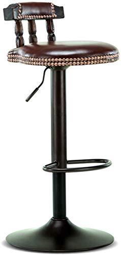 Beakjiful Stuhl Hoher Hocker Barhocker Stuhl Fußstütze mit braunem PU Sitz Holz Rückenlehne Verstellbarer Gaslift 60~80 cm für Frühstücksbar |Café Barhocker Metallgestell max.Laden Sie 150 kg