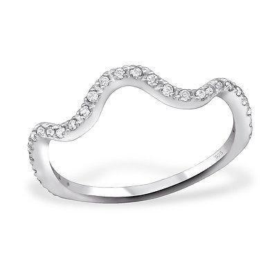 gewellt Kristall Sterling Silber CZ Stapelbar Ring Größe N