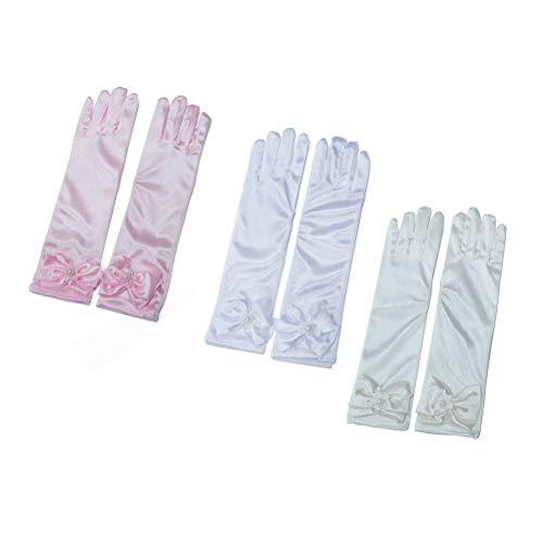 Toyvian 3 Paare Lange Bowknot-Handschuhe, die Mädchen-Etikette-Prinzessin-Handschuhe für Braut-Abend-Partei-Bankett Wedding sind (Prinzessin Braut Paare Kostüme)