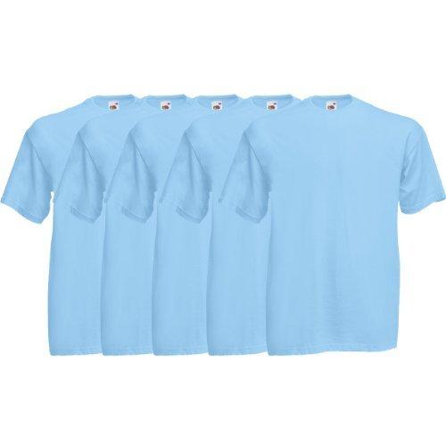 Fruit of the Loom Original  T Rundhals T-Shirt F140 5er Pack- Gr. XXL, Sky Blue