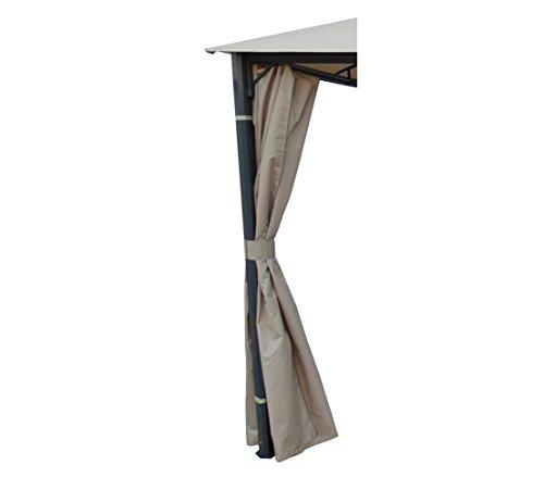 Dehner Wind- und Sichtschutz Seitenteile für Pavillon Dubai 3 x 4 m, 4 Stück, ca. 273 x 197 cm, Polyester, grau