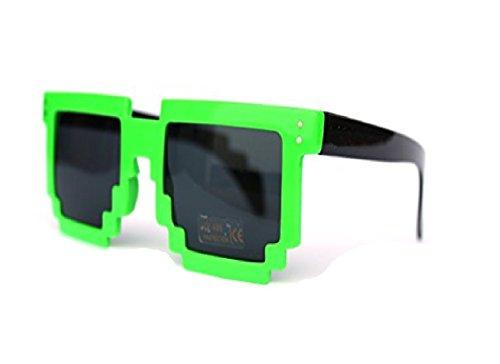 Pixelbrille grün neon Grün schwarz Pixel Sonnenbrille