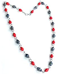 Handmade Paper Bead Necklace wrap round Double Strand