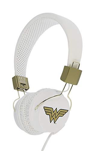 EN Kinder Kopfhörer Wonder Woman (faltbar, gepolsterte Bügel, buntes DC Design, für Jungen und Mädchen) Weiß/Gold ()
