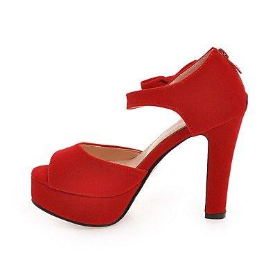 LvYuan Da donna-Sandali-Formale Casual Serata e festa-Club Shoes-Quadrato-Finta pelle-Nero Rosso Red