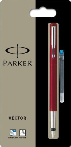 Parker Vector Füllfederhalter (Linienstärke M, Schreibfarbe blau) rot