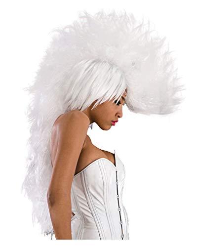 Horror-Shop Weiße Punk Perücke mit Mohawk für Fasching & Karneval (Weiß Perücke Mohawk)