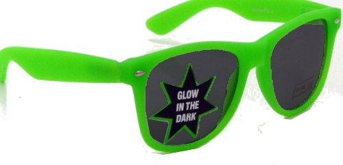 Nerd® Wayfarer Sonnenbrille Neon Grün GLOW IN THE DARK leuchtet!