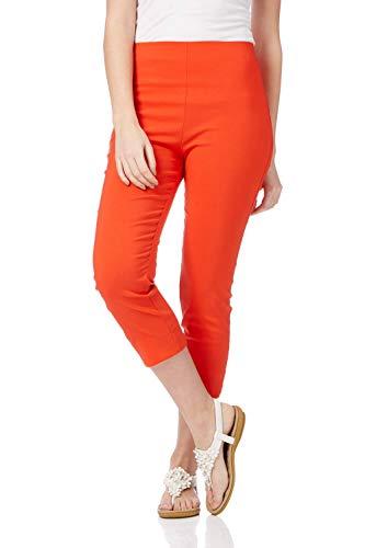 Roman Originals Femme Pantacourt Capri Extensible Bengaline 40 Couleurs Ajustable Pas Cher 7/8 Amincissant Cigarette Elastique Legging Jegging - Burnt Orange - Taille 40