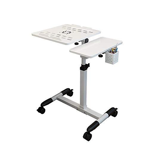 Computer mazhong carrello porta laptop portatile con tavoletta mouse, altezza regolabile, girevole a 360 ° e inclinazione a 180 °, ruote bloccabili, 60 x 34,5 x 57-95cm, (noce) (colore : bianca)