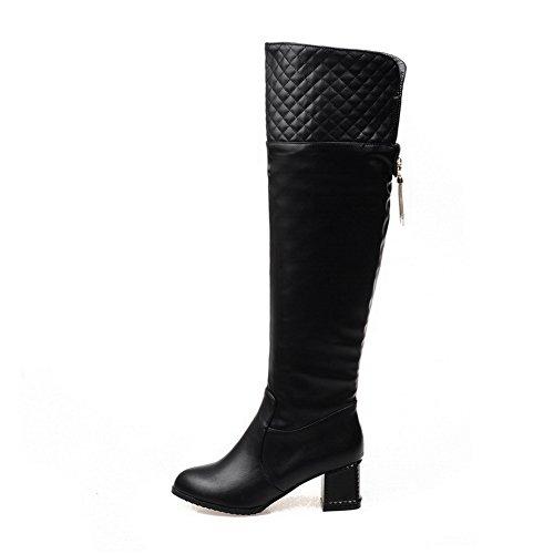 AgooLar Damen Schließen Zehe Blend-Materialien Stiefel Schwarz-Anhänger