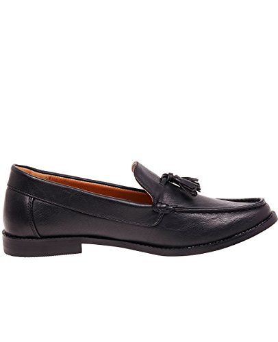 Ts Heritage Hommes Simili Cuir Chaussures À Enfiler Casual Gland Détail Loafers Noir
