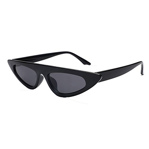 KUDICO Unisex Sonnenbrille Vintage Katzenaugen Retro Kleiner Rahmen Polarisierte Gläser Strahlenschutz UV400 Verspiegelte Brille(Schwarz, One Size)