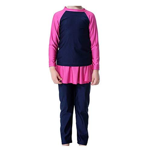 Xinvivion 3 Stücke Muslimische Badebekleidung für Mädchen - Bescheiden Mittlerer Osten islamisch Beachwear mit Schwimmhaube Lange Ärmel Faltenrock Burkini Tankinis -