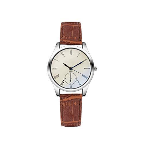 Uhr Fashion Damen Herrenuhr Analog Casual Braun Lederband Paar Uhren Kinlene Unisex Urhen