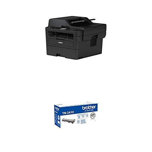Brother MFC-L2750DW Kompaktes 4-in-1 S/W-Multifunktionsgerät (34 Seiten/Min., Drucken, Scannen, Kopieren, Faxen, A4, 1.200x1.200 dpi, 250 Blatt Papierkassette, USB 2.0, Touchscreen) + TN-2410 Tonerkartusche, schwarz